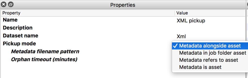 Enfocus Switch XML pickup element's properties