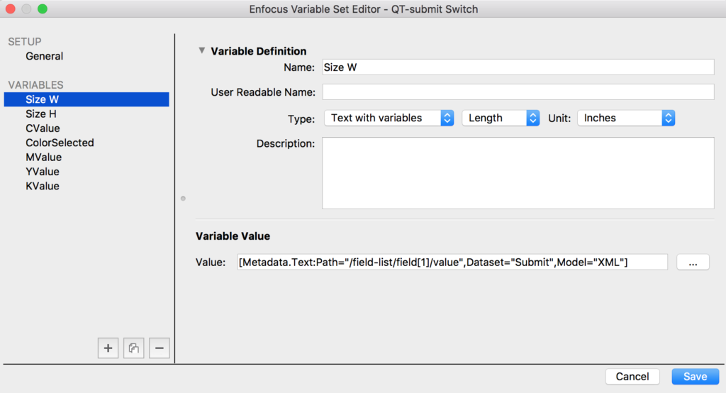 Enfocus Switch Text with variables in Variable set