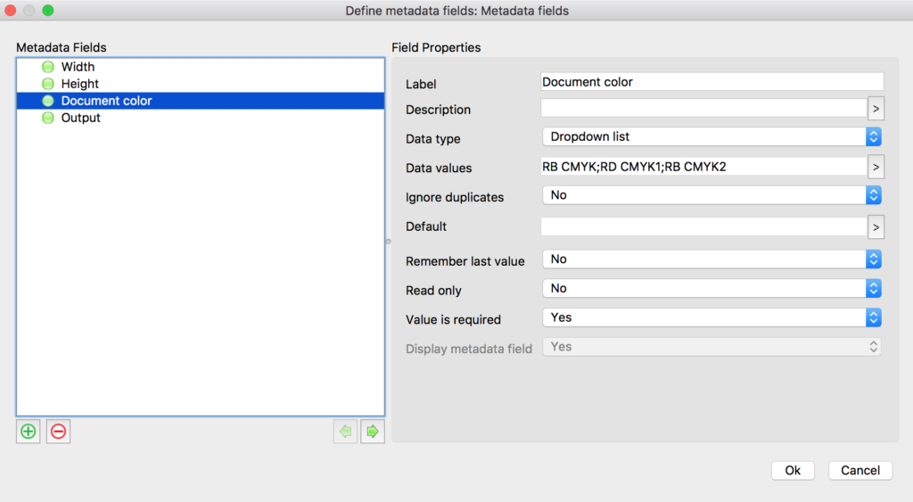 Enfocus Switch drop down list metadata field