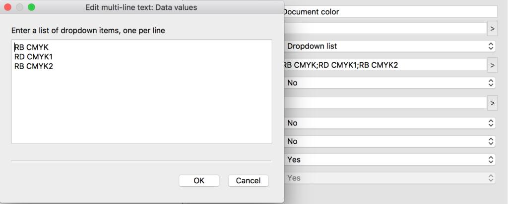 Enfocus Switch metadata dropdown list configuration