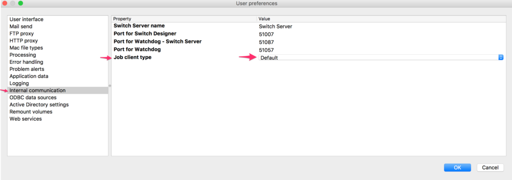 Enfocus Switch job client type preference
