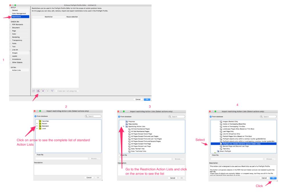 Enfocus PitStop selecting Restriction inside Preflight Profile